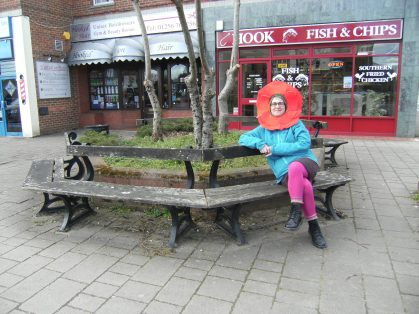Bench outside chip shop with Amanada April 2016